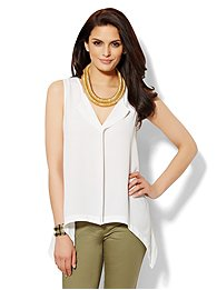 Trapeze-Hem Sleeveless Blouse