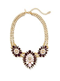 Triple-Floral Link Necklace