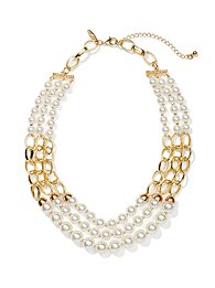 Triple-Row Pearl Chain Necklace