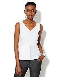 V-Neck Peplum Top - Optic White