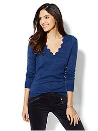 Waverly Lace-Trimmed V-Neck Sweater