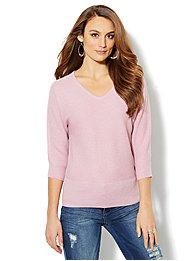 Waverly V-Neck Dolman Sweater - Lurex