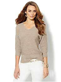 Waverly V-Neck Dolman Sweater - Lurex