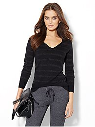 Waverly V-Neck Sweater - Shimmer Striped