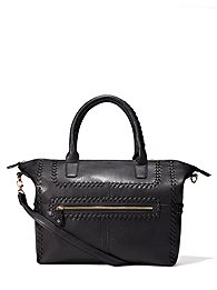 Whipstitch Faux-Leather Tote