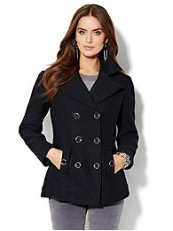Wool-Blend Boucle Peacoat