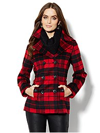 Wool-Blend Double-Breasted Plaid Peacoat