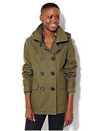 Wool-Blend Hooded Peacoat