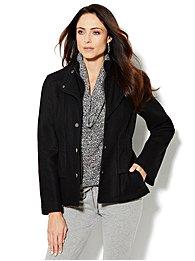 Wool-Blend Peplum Banded-Collar Coat