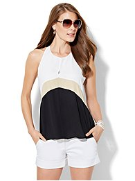 colorblock-draped-halter-blouse-