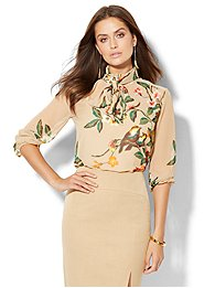 high-neck-chiffon-blouse-camel-floral-