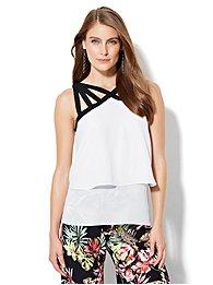 lattice-strap-halter-blouse-colorblock-