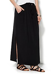lounge-double-slit-maxi-skirt-solid-