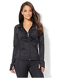 ny-c-velocity-shirred-zip-front-hooded-jacket-polka-dot-print-