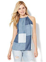 patchwork-halter-blouse-