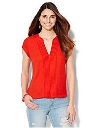 pintuck-split-neck-blouse-