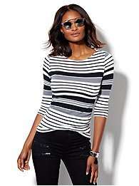 shirred-bateau-neck-top-stripe-