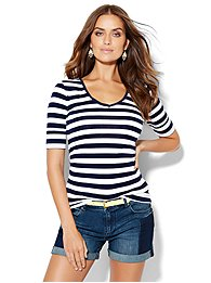 shirred-v-neck-tee-stripe-