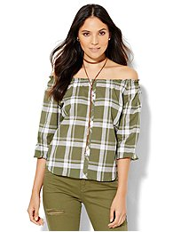 soho-off-the-shoulder-blouse-olive-plaid-