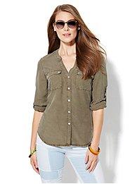 soho-soft-shirt-split-neck-khaki-green-
