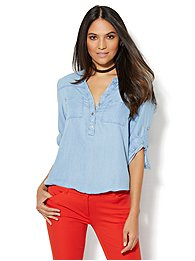 soho-soft-shirt-ultra-soft-chambray-bubble-hem-blouse