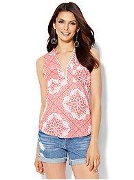 soho-soft-shirt-zip-front-sleeveless-bandana-print-