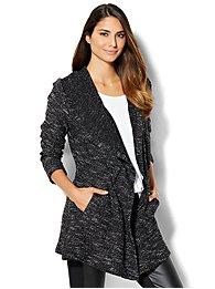 streetwear - hooded open-front cardigan sweater