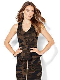 v-neck-peplum-top-camouflage-print-