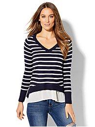 v-neck-twofer-sweater-stripe-