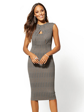 7th Avenue   Brown Plaid Keyhole Sheath Dress by New York & Company