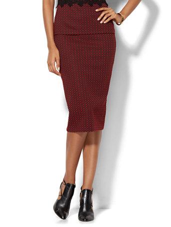 Ny C 7th Avenue Design Studio Knit Pencil Skirt Red