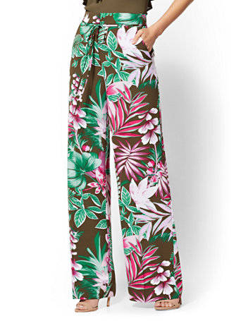 7th Avenue Pant   Olive Floral Palazzo by New York & Company