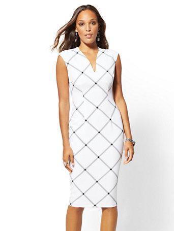 7th Avenue   Plaid V Neck Sheath Dress by New York & Company