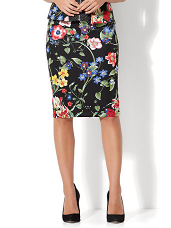NY&C: 7th Avenue - Pull-On Pencil Skirt - Black Floral - Petite
