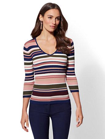 7th Avenue   Stripe V Neck Sweater by New York & Company
