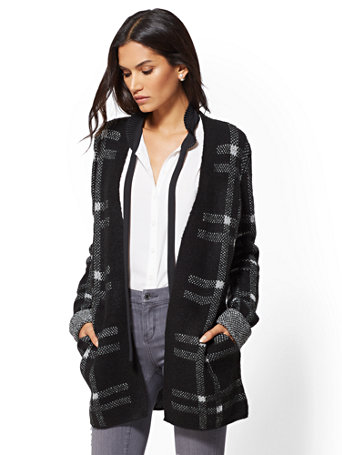 Black Plaid Open Front Coatigan by New York & Company