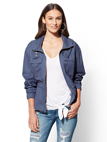 Blue Zip Front Hooded Jacket by New York & Company