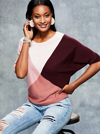 Colorblock Dolman Sweater by New York & Company