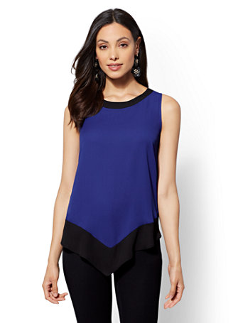 colorblock-pointed-hem-blouse by new-york-&-company