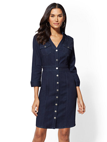 Denim Shirtdress   Dark Wash by New York & Company