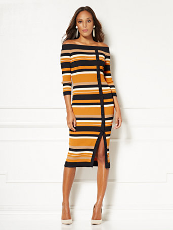 Eva Mendes Collection   Daveena Stripe Sweater Dress by New York & Company