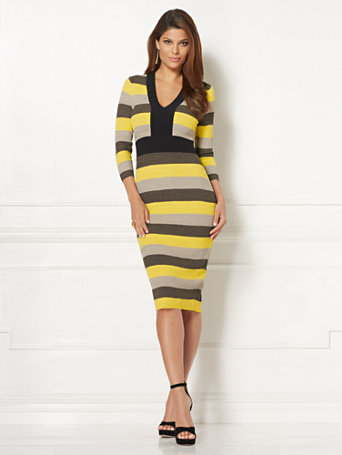 Ny C Eva Mendes Collection Francisca Stripe Sweater Dress