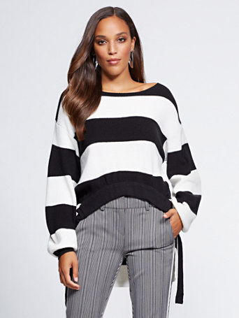 Gabrielle Union Collection   Stripe Hi Lo Sweater by New York & Company