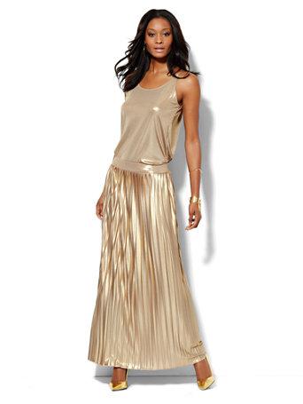 ny c gold lam 233 pleated maxi skirt
