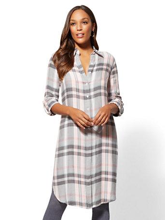 Grey Plaid Maxi Shirt by New York & Company