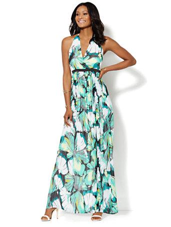 Ny Amp C Halter Maxi Dress Tropical Print Petite