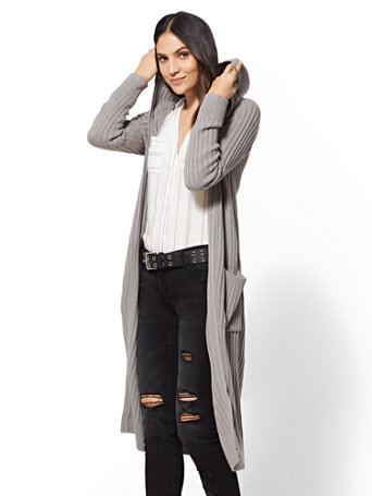 Hooded Ribbed Knit Duster Cardigan by New York & Company