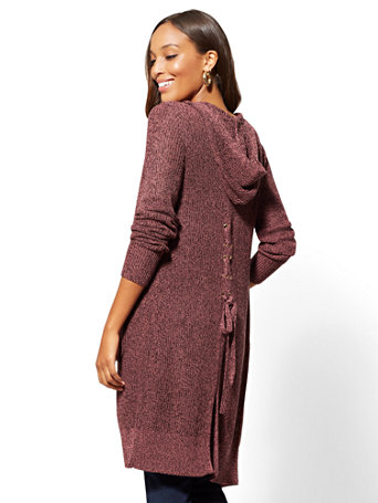 Lace Up Back Marled Duster Cardigan by New York & Company