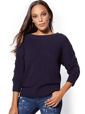 Lace Up Boatneck Sweater by New York & Company