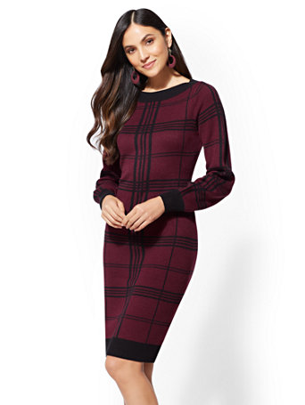 Maroon Plaid Sweater Dress by New York & Company